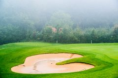Sand bunker on the golf course. Mexican resort. Stock Photos