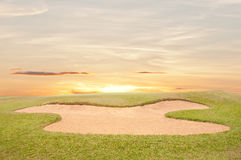 Sand bunker on the golf course Royalty Free Stock Image