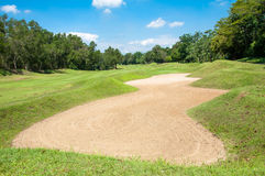 Sand bunker green grass and blue sky in golf club Stock Images