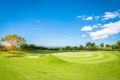 A Sand bunker in Golf Course stock photos