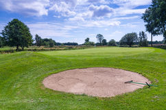 Sand bunker on Swedish golf course Royalty Free Stock Image