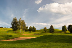 Sand bunkers on the golf course Stock Image