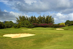 Sand bunkers on golf course Royalty Free Stock Photos