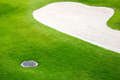 Sand bunkers on the golf course Royalty Free Stock Photos