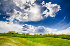 Sand bunkers on the golf course stock photos