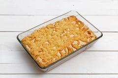 Sand cake with lemon-orange filling and meringue Royalty Free Stock Photo