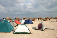 Sand Camping. Tents on the beach Royalty Free Stock Photography