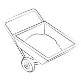 Sand Cart. Black outline vector Sand Cart on white background Royalty Free Stock Image