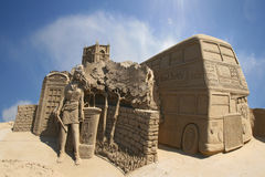 Sand carving of a London street scene Royalty Free Stock Photography