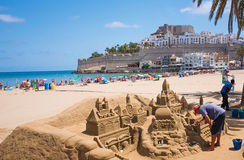 Sand Castel in Peniscola, Spanien Lizenzfreies Stockbild
