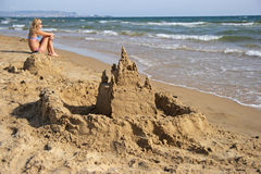 The sand castle stock photo