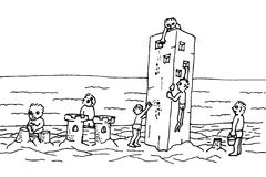 Sand castle. Teamwork is always better performance than just the one man show Stock Photo
