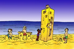 Sand castle. Teamwork is always better performance than just the one man show Royalty Free Stock Photography