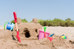 Sand castle. On the beach built by a child royalty free stock images