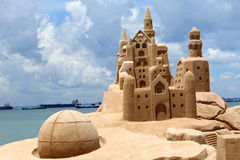 Sand castle. Sand Castle found on East Coast Beach at Singapore Stock Image