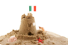 Sand castle. Beach with sand castle in Italy isolated over white stock photography