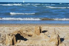 Sand castle. On the beach against the sea, Rimini, Italy Stock Photography