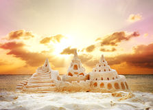 Sand Castle. On the Beach. Beautiful Sanset Royalty Free Stock Photography
