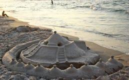Sand castle. On a beach Stock Photography