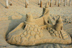 Sand Castle. An elaborate sand castle on the beach Royalty Free Stock Photography