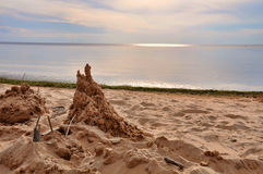 Sand castle on Baltic beach Stock Photo