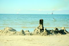 Sand castle by The Baltic sea Stock Photos