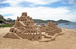 Sand castle on the beach. In brazil stock photo