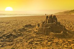 Sand Castle on the Beach Stock Photography