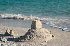 Sand castle on the beach Royalty Free Stock Image
