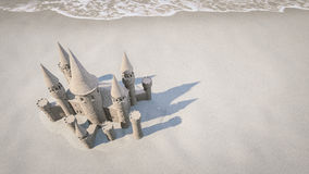 Sand castle beach background. 3d rendering Royalty Free Stock Images