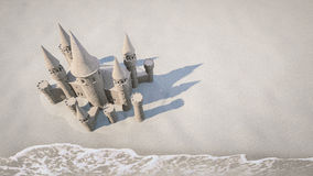 Sand castle beach background. 3d rendering Stock Photos