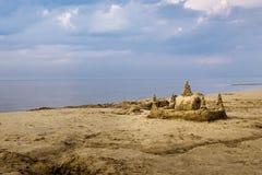 Sand Castle on Beach Royalty Free Stock Photos