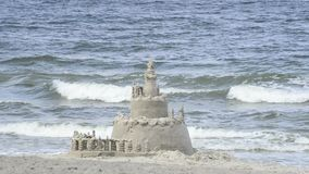 Sand castle on a beach Royalty Free Stock Photography