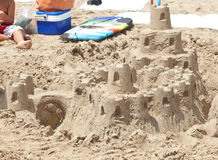 Sand castle on the beach. Royalty Free Stock Photography