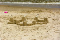 Sand castle on the beach. Royalty Free Stock Photos