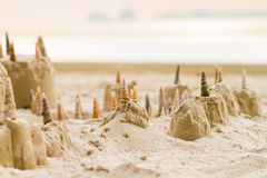 Sand castle on the beach Royalty Free Stock Photos
