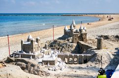 Sand castle on the beach of El Campello. Alicante. Spain. Sand castle on the beach of El Campello. El Campello is a town on the Costa Blanca. Alicante. Spain royalty free stock photography