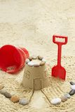 Sand castle on beach elevated view Stock Photo