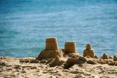Sand castle by the beach. Island thailand stock photo