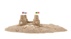 Sand castle at the beach Stock Photography