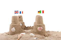 Sand castle at the beach Royalty Free Stock Photos