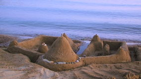 Sand Castle On the Beach stock video footage