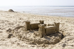 Sand Castle on the Beach, North Sea, Netherlands Stock Images