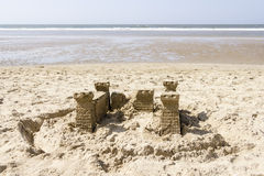 Sand Castle on the Beach, North Sea, Netherlands Royalty Free Stock Photos