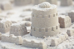 Sand castle on the beach Stock Photo