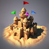 Sand castle with beach toys. 3d illustration Royalty Free Stock Photos