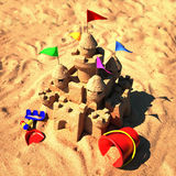 Sand castle with beach toys. 3d illustration Stock Image