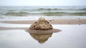 Sand Castle on Beach stock video