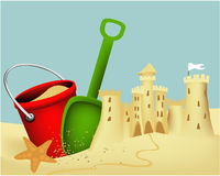 Sand castle building Stock Photo