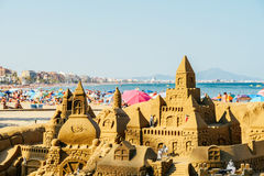 Sand Castle Building On Peniscola Beach Resort At Mediterranean Sea Royalty Free Stock Images